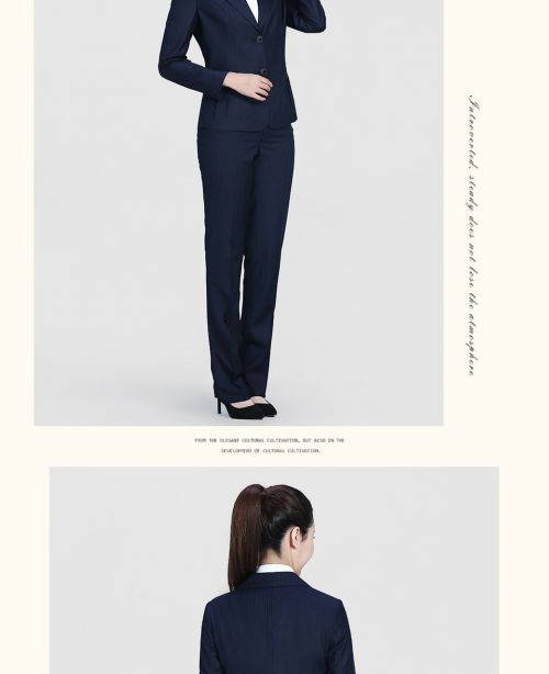 深蓝色兰色条纹时装二粒扣职业装FX04