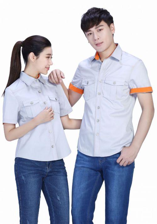 银白色夏季涤棉细斜短袖上衣工作服FY639