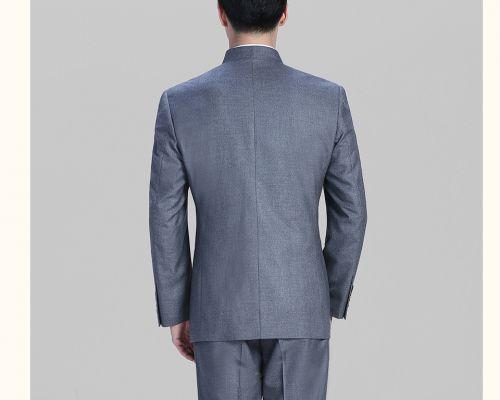 新款中灰色休闲西装中华立领西服FX10